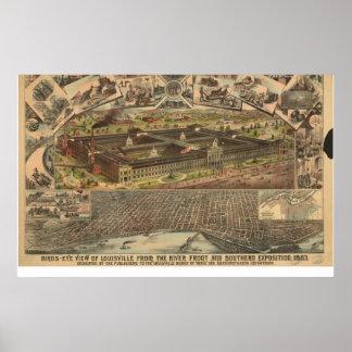 1883 mapa panorámico de la opinión de ojo de pájar posters