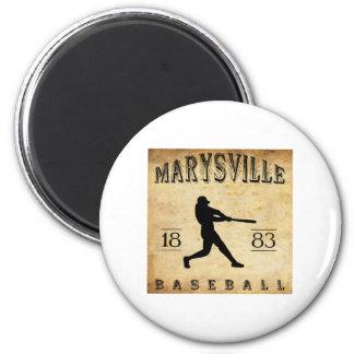1883 Marysville California Baseball 2 Inch Round Magnet