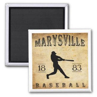 1883 Marysville California Baseball 2 Inch Square Magnet