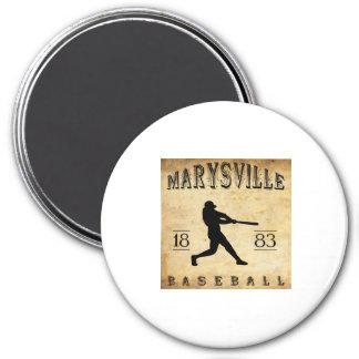 1883 Marysville California Baseball 3 Inch Round Magnet