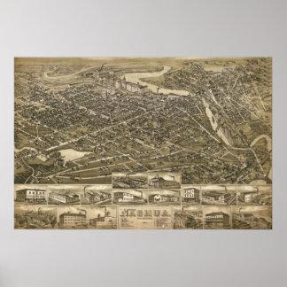 1883 Nashua, NH Birds Eye View Panoramic Map Poster