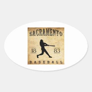 1883 Sacramento California Baseball Oval Sticker