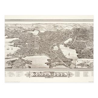 1883 Salem Map Postcard