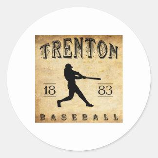 1883 Trenton New Jersey Baseball Classic Round Sticker