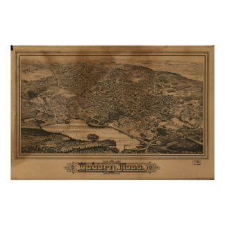 1883 Woburn, MA Birds Eye View Panoramic Map Poster