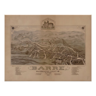 1884 Barre, VT Bird's Eye View Panoramic Map Posters