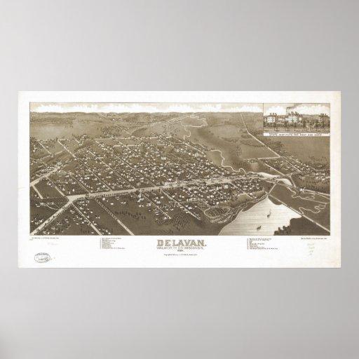 1884 Delavan, WI Birds Eye Panoramic Map Poster