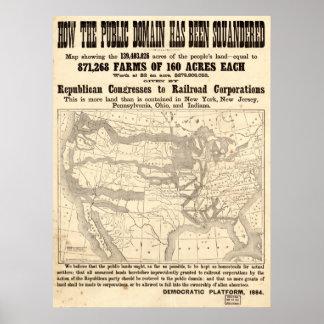 1884 Democratic Platform Political Campaign Poster