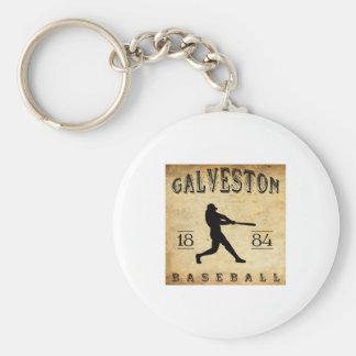 1884 Galveston Texas Baseball Basic Round Button Keychain