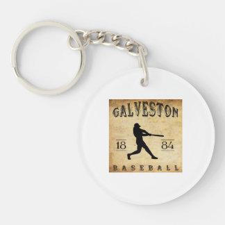1884 Galveston Texas Baseball Double-Sided Round Acrylic Keychain