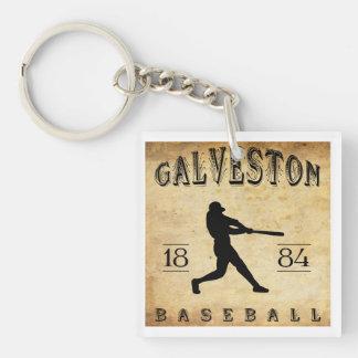 1884 Galveston Texas Baseball Double-Sided Square Acrylic Keychain