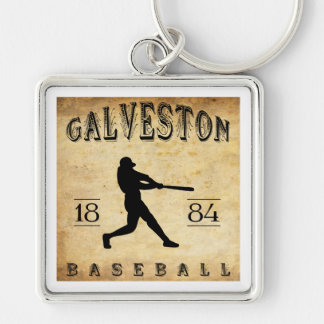 1884 Galveston Texas Baseball Silver-Colored Square Keychain
