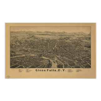 1884 Glens Falls, NY Birds Eye View Panoramic Map Poster