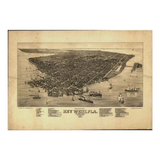 1884 Key West, FL Birds Eye View Panoramic Map Poster