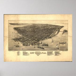 1884 Key West, mapa panorámico de la opinión de oj Póster