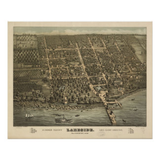 1884 Lakeside OH Birds Eye View Panoramic Map Poster