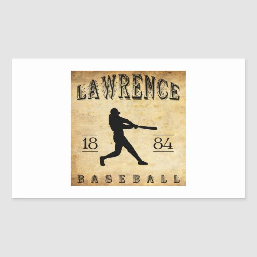 1884 Lawrence Massachusetts Baseball Rectangular Sticker