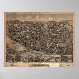 1884 Lewisburgh, PA Birds Eye View Panoramic Map Poster