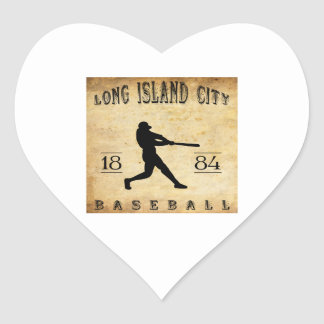 1884 Long Island City New York Baseball Heart Sticker