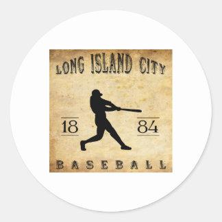 1884 Long Island City New York Baseball Classic Round Sticker