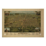 1884 Mattoon, IL Birds Eye View Panoramic Map Posters