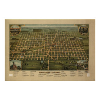1884 Mattoon, IL Birds Eye View Panoramic Map Poster