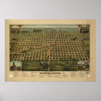 1884 Mattoon, mapa panorámico de la opinión de ojo Póster