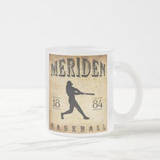 1884 Meriden Connecticut Baseball Frosted Glass Coffee Mug