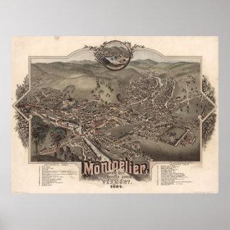 1884 Montpelier, mapa panorámico de la opinión del Poster