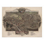 1884 Montpelier, mapa panorámico de la opinión del Póster