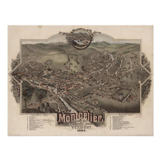 1884 Montpelier, VT Bird's Eye View Panoramic Map Posters