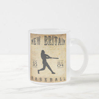 1884 New Britain Connecticut Baseball Frosted Glass Coffee Mug