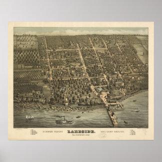 1884 orilla del lago, mapa panorámico de la opinió impresiones