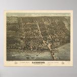 1884 orilla del lago, mapa panorámico de la opinió póster