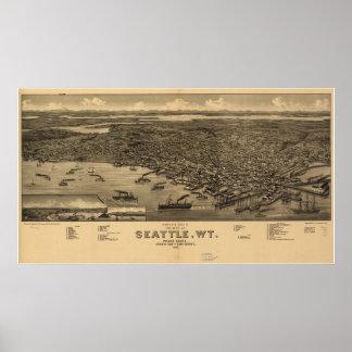 1884 Seattle, mapa panorámico de la opinión de ojo Poster