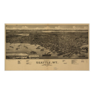 1884 Seattle, WA Birds Eye View Panoramic Map Poster