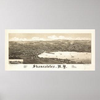 1884 Skaneateles, mapa panorámico de la opinión de Impresiones