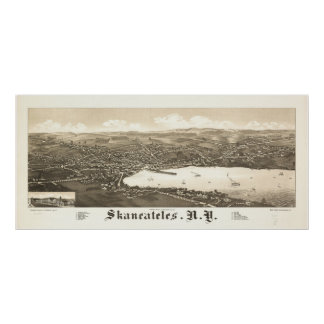 1884 Skaneateles, NY Birds Eye View Panoramic Map Poster
