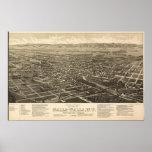 1884 Walla Walla, WA Birds Eye View Panoramic Map Print