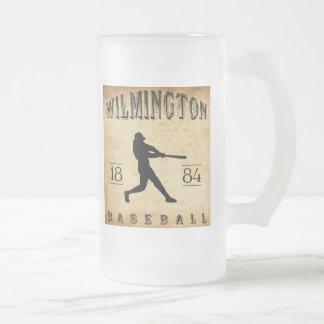 1884 Wilmington Delaware Baseball Frosted Glass Beer Mug