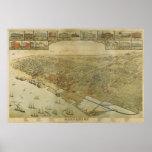 1885 Galveston, TX Birds Eye View Panoramic Map Print