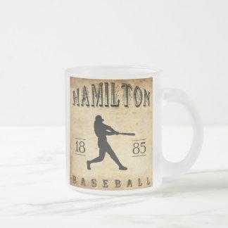 1885 Hamilton Ontario Canada Baseball Frosted Glass Coffee Mug