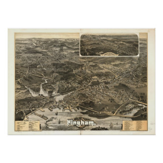 1885 Hingham, MA Birds Eye View Panoramic Map Posters