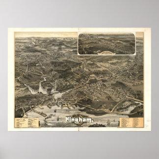 1885 Hingham, MA Birds Eye View Panoramic Map Poster