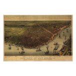 1885 New Orleans, LA Birds Eye View Panoramic Map Poster