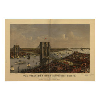 1885 New York City NY Birds Eye View Panoramic Map Poster