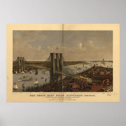 1885 New York City NY Birds Eye View Panoramic Map Poster
