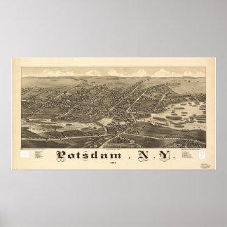 1885 Potsdam, NY Birds Eye View Panoramic Map Poster