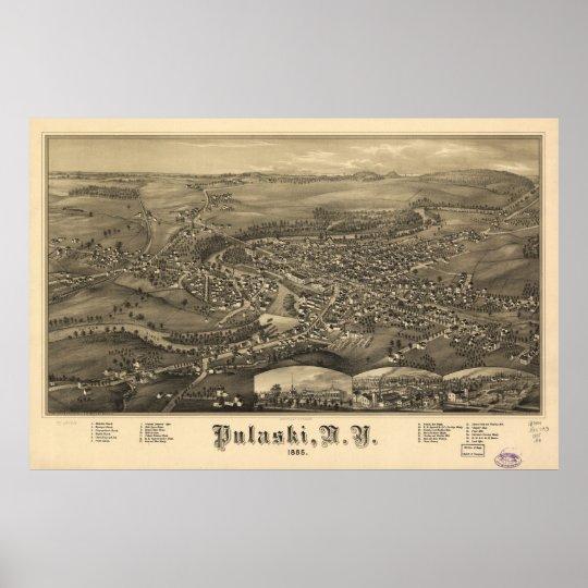 1885 Pulaski, mapa panorámico de la opinión de ojo Póster