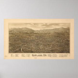 1885 Rutland, VT Bird's Eye View Panoramic Map Posters